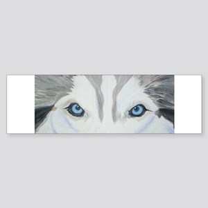 Siberian Husky Blue Eyes Pain Bumper Sticker