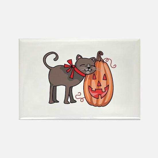 BLACK CAT AND PUMPKIN Magnets