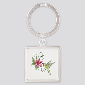 HUMMINGBIRD AND FLOWER Keychains