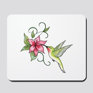 HUMMINGBIRD AND FLOWER Mousepad