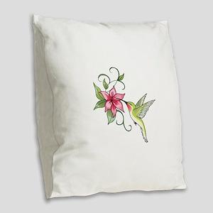 HUMMINGBIRD AND FLOWER Burlap Throw Pillow