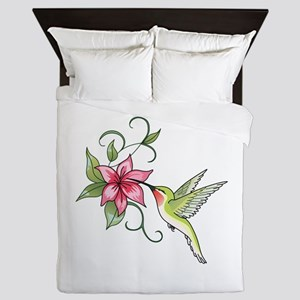 HUMMINGBIRD AND FLOWER Queen Duvet