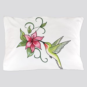 HUMMINGBIRD AND FLOWER Pillow Case