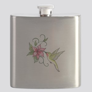HUMMINGBIRD AND FLOWER Flask