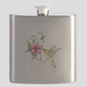 HUMMINGBIRD AND FLOWER Flask