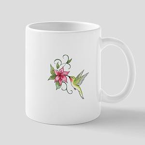 HUMMINGBIRD AND FLOWER Mugs