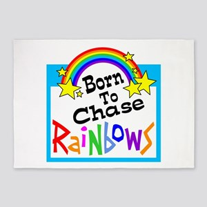 Born To Chase Rainbows 5'x7'Area Rug