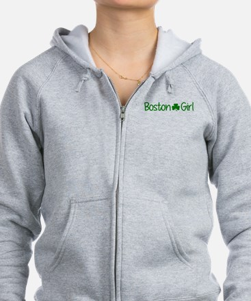 Boston Girl Shamrock (Green) Zip Hoodie