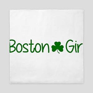 Boston Girl Shamrock (Green) Queen Duvet