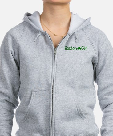 Boston Girl Shamrock Distresed Zip Hoodie