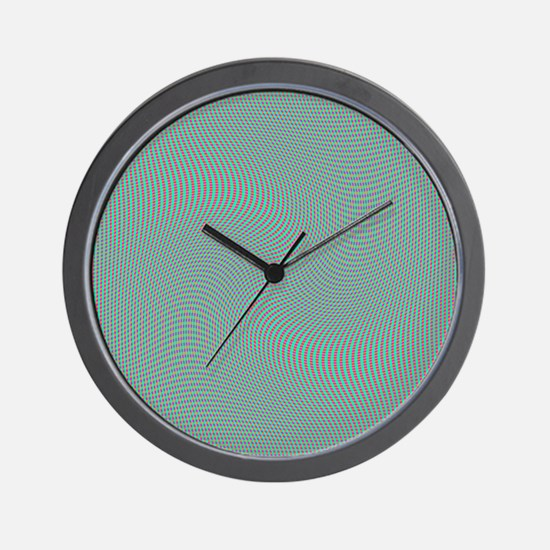 Pink Orange Green Blue Squares Swirl Wall Clock