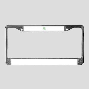 CUSTOM Green Monogram License Plate Frame