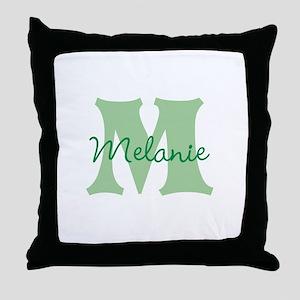 CUSTOM Green Monogram Throw Pillow