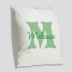 CUSTOM Green Monogram Burlap Throw Pillow
