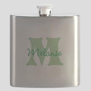 CUSTOM Green Monogram Flask