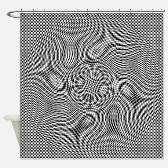 Black White Grey Squares Swirl Shower Curtain