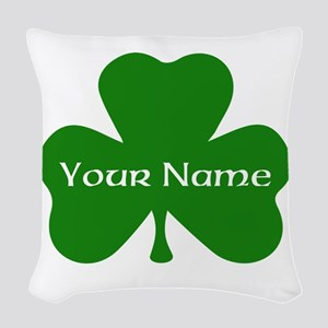 CUSTOM Shamrock with Your Name Woven Throw Pillow