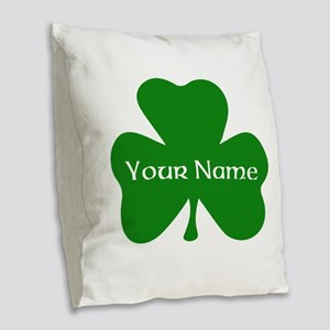 CUSTOM Shamrock with Your Name Burlap Throw Pillow
