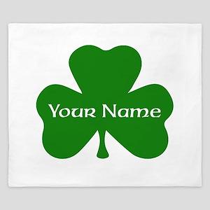 CUSTOM Shamrock with Your Name King Duvet
