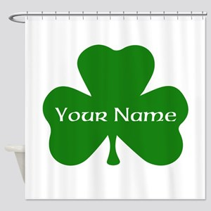 CUSTOM Shamrock With Your Name Shower Curtain