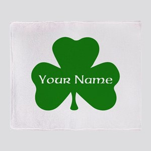 CUSTOM Shamrock with Your Name Throw Blanket
