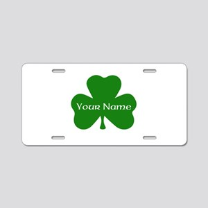 CUSTOM Shamrock with Your Name Aluminum License Pl