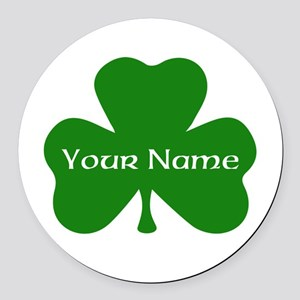 CUSTOM Shamrock with Your Name Round Car Magnet