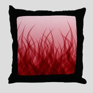 Abstract Grass Design Red Throw Pillow