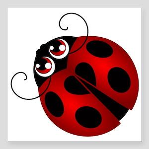 "Ladybug Square Car Magnet 3"" x 3"""