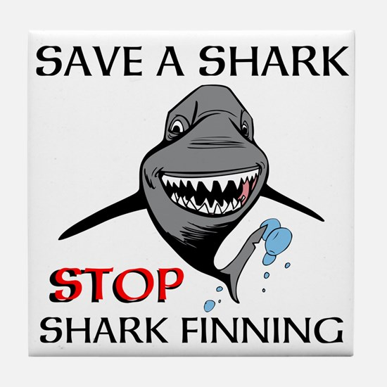 Stop Shark Finning Tile Coaster