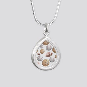 Court and Field Silver Teardrop Necklace