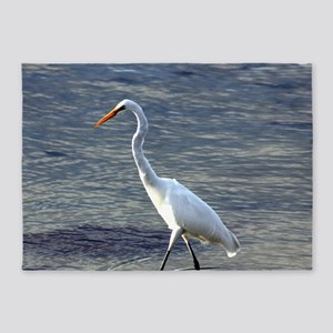 Great Egret fishing 5'x7'Area Rug