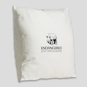 Endangered Rhino Burlap Throw Pillow