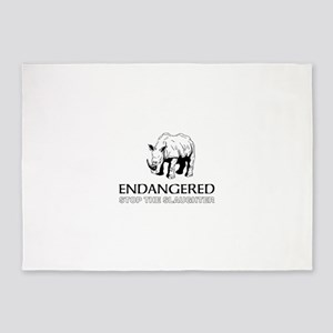 Endangered Rhino 5'x7'Area Rug