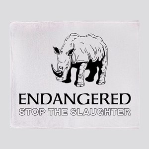 Endangered Rhino Throw Blanket