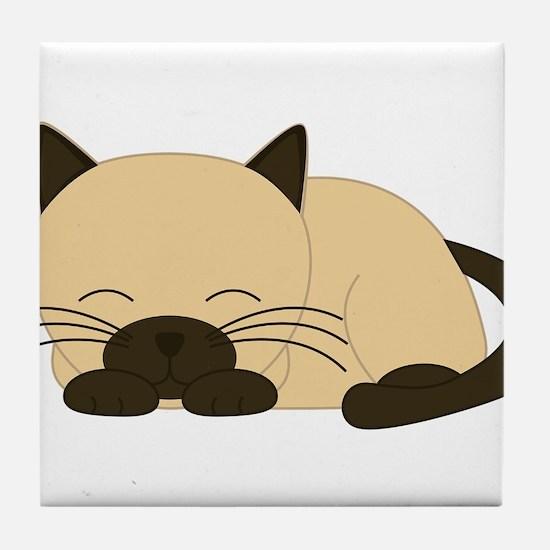Siamese Cat Tile Coaster