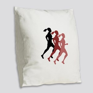 FEMALE RUNNER Burlap Throw Pillow