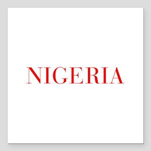 "Nigeria-Bau red 400 Square Car Magnet 3"" x 3"""