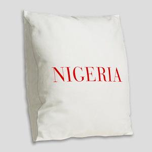 Nigeria-Bau red 400 Burlap Throw Pillow