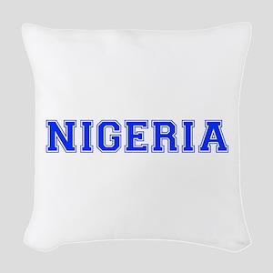 Nigeria-Var blue 400 Woven Throw Pillow