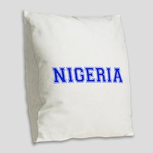 Nigeria-Var blue 400 Burlap Throw Pillow