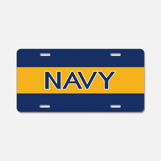 U.S. Navy: Navy (Gold Strip Aluminum License Plate