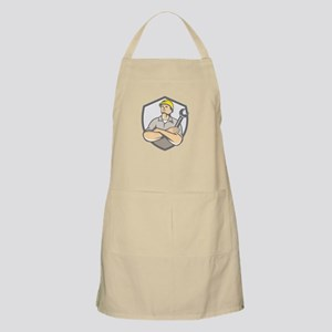Builder Arms Crossed Wrench Shield Retro Apron