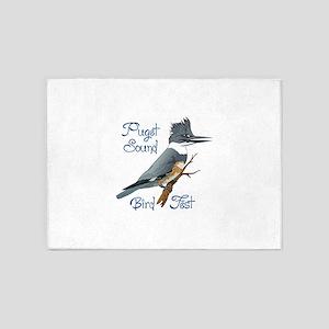 PUGET SOUND BIRD FEST 5'x7'Area Rug