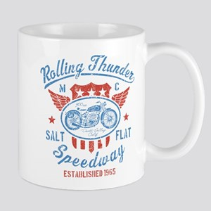 Rolling Thunder Vintage Motorcycle Graphic Mugs