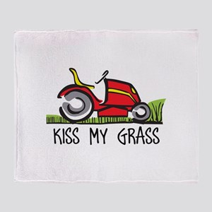 KISS MY GRASS Throw Blanket