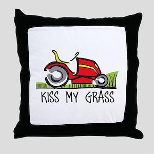 KISS MY GRASS Throw Pillow