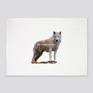 Standing Gray Wolf 5'x7'Area Rug