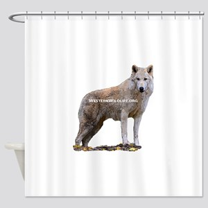Standing Gray Wolf Shower Curtain