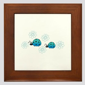 LADYBUGS AND DAISIES Framed Tile